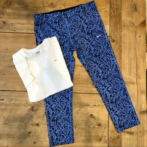 Nike DRIFIT Cropped Capri Leggings & Shirt Size L